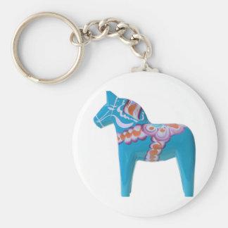 Sky Blue Dala Horse Basic Round Button Key Ring