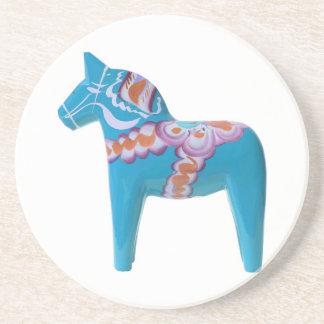 Sky Blue Dala Horse Coaster