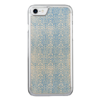 Sky Blue Damask Weathered  Pattern Carved iPhone 8/7 Case
