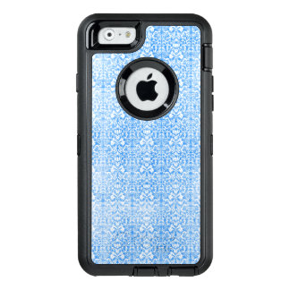 Sky Blue Damask Weathered  Pattern OtterBox Defender iPhone Case
