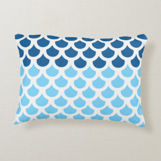 Sky Blue/ Deep Ocean Fish Scale 2 Accent Cushion