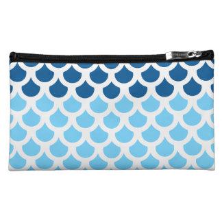 Sky Blue/ Deep Ocean Fish Scale 2 Cosmetic Bag