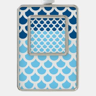 Sky Blue/ Deep Ocean Fish Scale 2 Silver Plated Framed Ornament