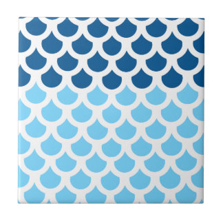 Sky Blue/ Deep Ocean Fish Scale 2 Small Square Tile