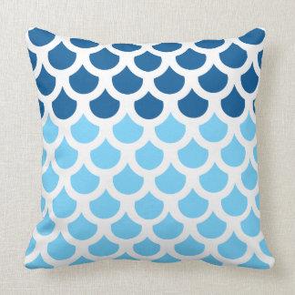 Sky Blue/ Deep Ocean Fish Scale 2 Throw Cushion