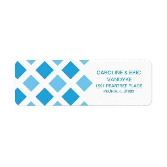 Sky Blue Diamond Check Custom Personalised Return Address Label