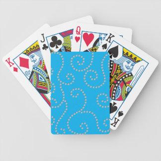 Sky blue diamond swirls bicycle playing cards