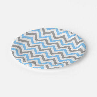 Sky Blue, Dk Gray Wht Large Chevron ZigZag Pattern 7 Inch Paper Plate