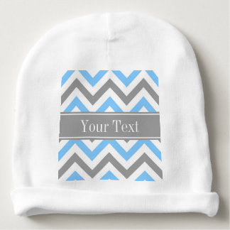 Sky Blue Dk Gray Wht LG Chevron Gray Name Monogram Baby Beanie