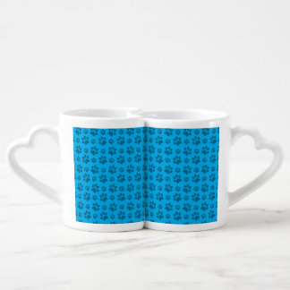 Sky blue dog paw print pattern lovers mug sets