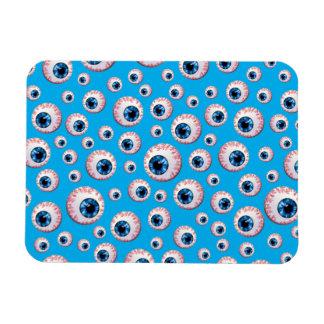 Sky blue eyeball pattern rectangle magnet