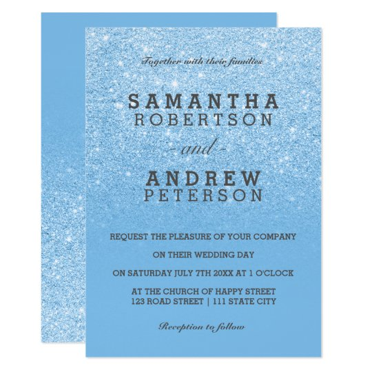Sky blue faux glitter chic ombre wedding card