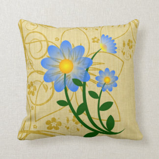 Sky-Blue Flower on Gold Floral Print Cushion