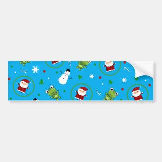 Sky blue frogs santa claus snowman pattern bumper sticker