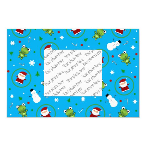 Sky blue frogs santa claus snowman pattern photo