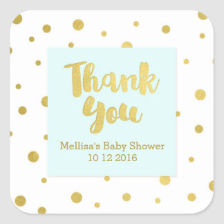 Sky Blue Gold Baby Shower Thank You Favor Sticker