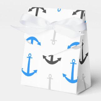 Sky Blue, Gray, Anchors; Nautical Favour Box