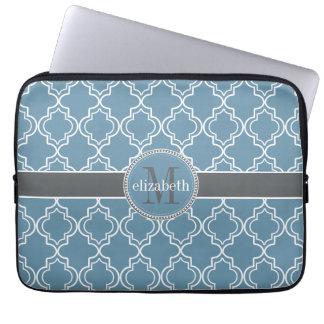 Sky Blue Gray White Moroccan Quatrefoil Monogram Laptop Sleeve