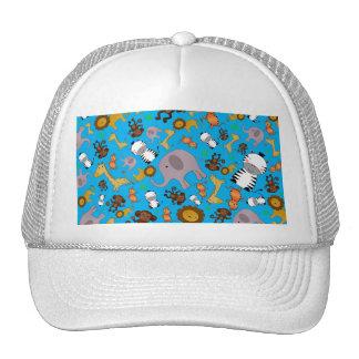 Sky blue jungle safari animals trucker hat