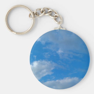 Sky Blue Basic Round Button Key Ring
