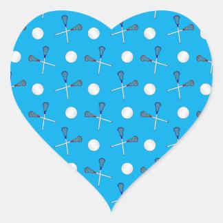 Sky blue lacrosse pattern heart sticker