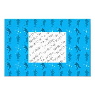 Sky blue lacrosse silhouettes photo