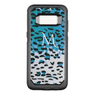 Sky Blue Leopard Animal Print Monogram OtterBox Commuter Samsung Galaxy S8 Case