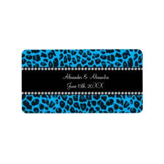 Sky blue leopard print wedding favors address label