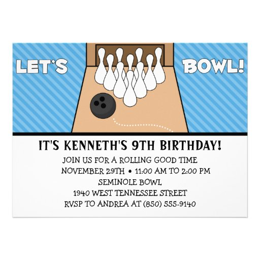 Sky Blue Let's Bowl Bowling Birthday Party Personalized Invite