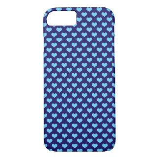Sky Blue Little Heart Pattern Dark Blue Background iPhone 7 Case