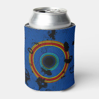 Sky Blue Multicolor Vinyl Disc Texture Pattern Can Cooler