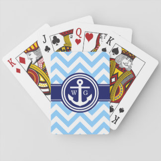 Sky Blue Navy Blue Wht LG Chevron Anchor Monogram Playing Cards