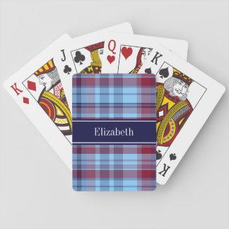 Sky Blue Navy Burgundy Preppy Madras N Monogram Playing Cards