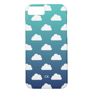 Sky Blue Ombre & White Clouds Monogrammed iPhone 8/7 Case