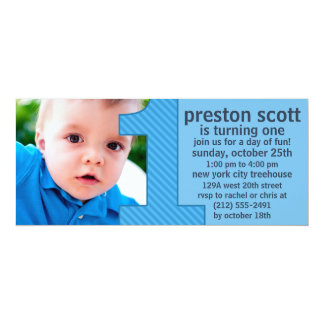 Sky Blue One Is Fun Photo First Birthday Party 10 Cm X 24 Cm Invitation Card