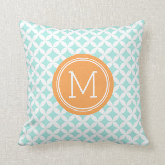 Sky Blue Orange Circles Monogram Decorative Pillow