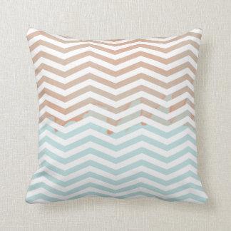 Sky Blue Orange Watercolor Chevron Modern Art Pillow