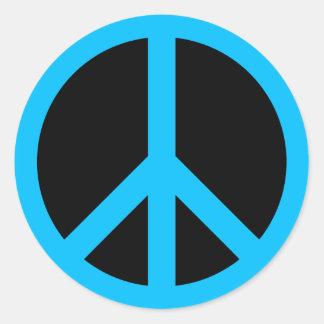 Sky Blue Peace Symbol Round Stickers