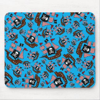 Sky blue pirate ship pattern mousepads
