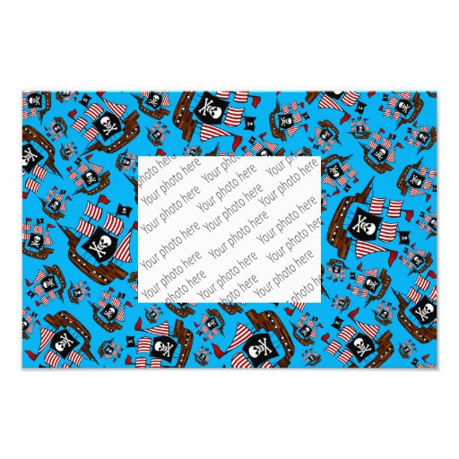 Sky blue pirate ship pattern photographic print