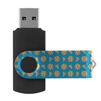 Sky blue pizza pattern swivel USB 2.0 flash drive