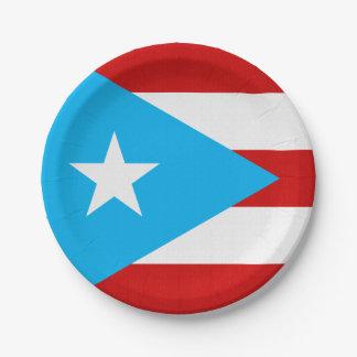Sky Blue Puerto Rico Flag Napkin 7 Inch Paper Plate