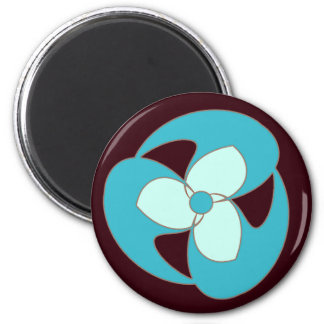 Sky Blue Retro Crescent Spiral Flower Magnet