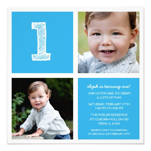 Sky Blue Room for Squares 1st Birthday Party Photo Invite