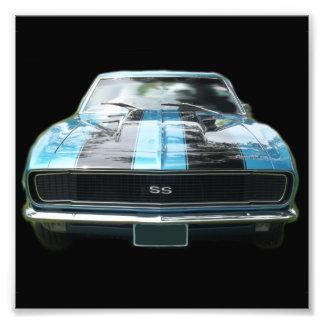 Sky blue SS Camaro with black stripes Art Photo