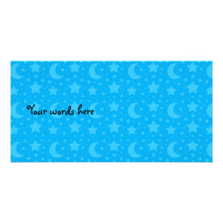 sky blue stars and moon patterns customized photo card
