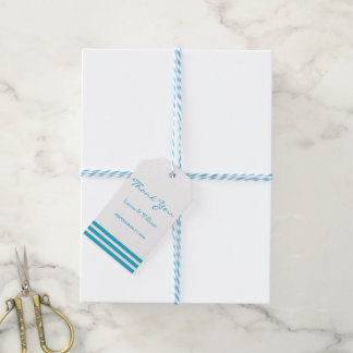 Sky Blue Stripes Design Wedding Gift Tags