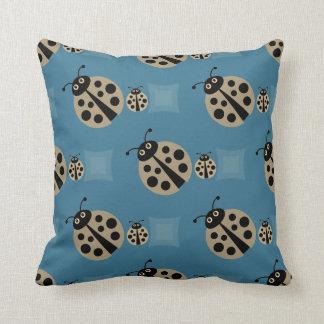 Sky Blue  Summer Polka Dot Lady Bugs Pillow