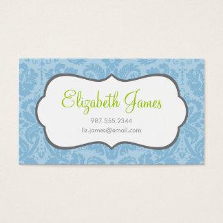 Sky Blue Vintage Damask Business Card