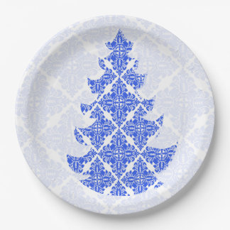 Sky Blue Vintage Damask Lace Christmas Tree 9 Inch Paper Plate